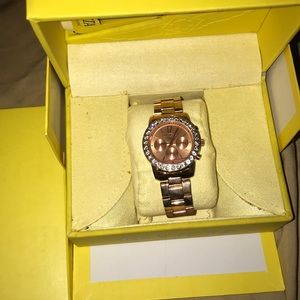 NWT Rose gold rhinestone invicta angel women watch